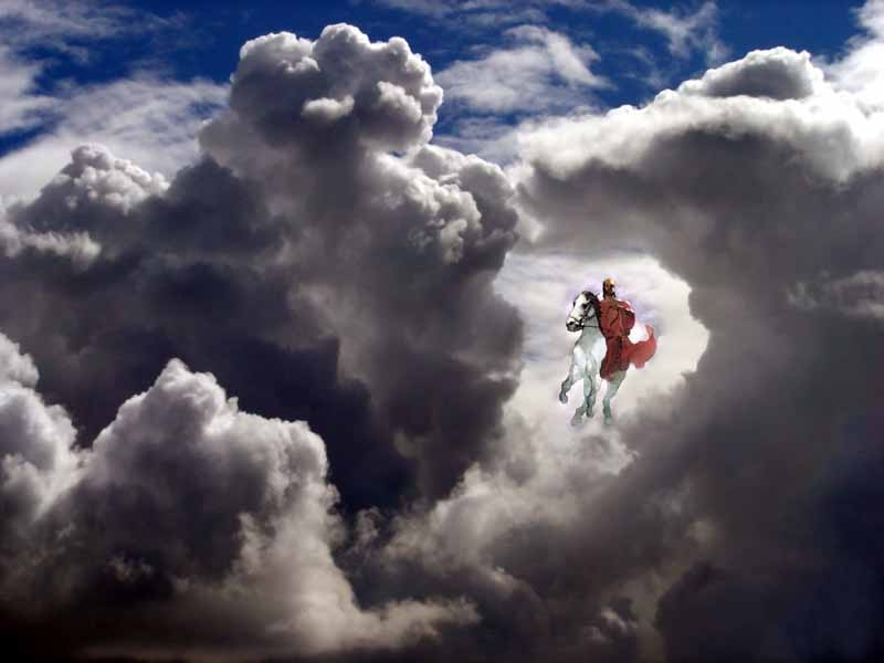 Jesus returns horse thru clouds every eye see Him
